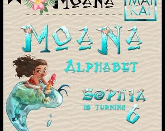 Moana digital alphabet, moana clip art, moana letters, moana birthday, alphabet letters, digital font. instant download