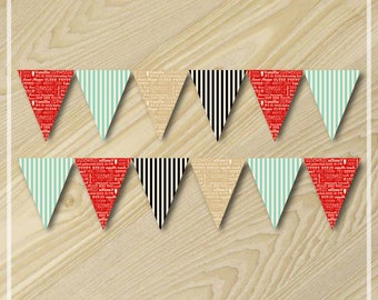 Ice Cream Party - Bunting Flag Banner - Ice Cream Birthday Party