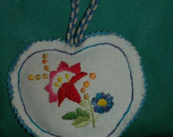 blue embroidered door pillow