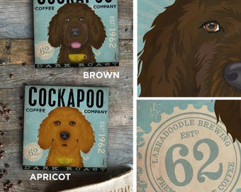 Cockapoo Coffee Dog Company graphic illustration on gallery wrapped by Stephen Fowler