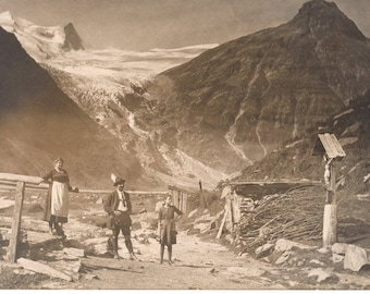 RPPC  ~ Real Picture Post Card Circa 1910's ~ Hiking in the Alpines Mountains Vintage Photograph