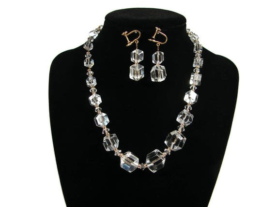 SIMMONS Hexagon Cube Crystal Necklace Matching Earrings Rose