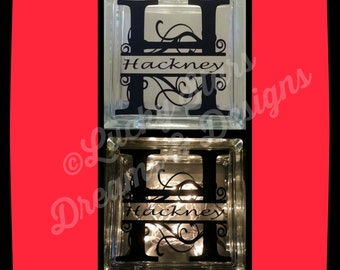 8x8 Glass Block with Name Monogram