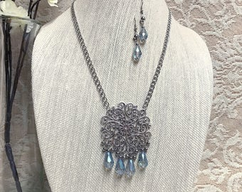 Silver Pendant Necklace Earrings Touch of Blue Crystals Boho Chic Bohemian Hippie Style Jewelry