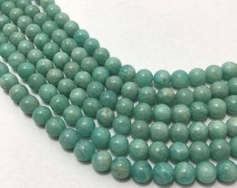 Natural Amazonite Plain Smooth Round Beads, 6mm to 6.5mm, 13 inches, Green Beads, Gemstone Beads, Semiprecious Stone Beads