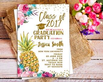 class of 2018 invitation, class of 2018 graduation invitation printable, pineapple aloha class of 2018 invite,  Graduation Announcement