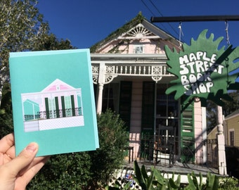 Maple Street Book Shop, Uptown, Fight the Stupids, Closed Forever, Historic Architecture Louisiana, New Orleans Greeting Card