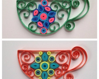 Handmade, (2) Quilled Paper Tea Cup Magnets