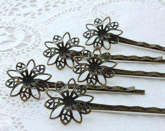 10Pcs Wholesale Antique Brass Filigree Hair  pins Clip Setting NICKEL FREE( PINSS -4)