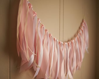 Fabric Garland Backdrop. Handcrafted in 2-5 Business Days. Fabric Garland Banner.  Ribbon Garland Backdrop in Baby Pink, Ivory & White.