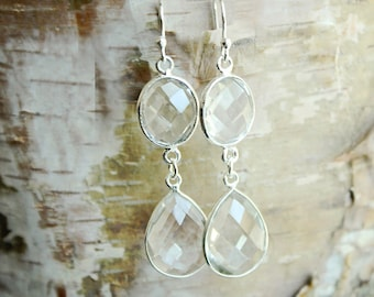 Wedding Jewelry Set Clear Crystal Earrings Sterling Silver Bridal Earrings Wedding Earrings Bridesmaid Gift for Her Bridal Jewelry Set
