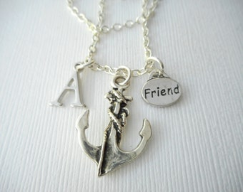 Friend, Anchor- Initial Necklace/ Love & Friendship, Gift Ideas, Forever, Birthday Gift, bff jewelry, Personalized Friend, gift for bff