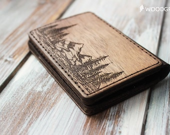Fathers day gift Wood Wallet Credit Card Wallet Leather Minimalist Wallet Card Holder Groomsmen Gift for Men Gift for Boyfriend Dad Gifts