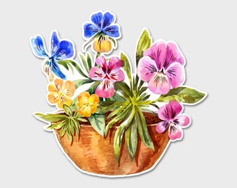Flower Pansies Pansy Watercolor Bumper Sticker Decal