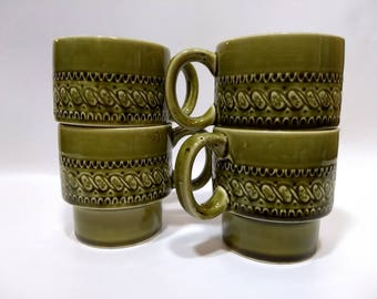 Vintage Stacking Coffee Mugs Cups, 4 cups, green glaze, 1970's, retro kitchen, mid-modern decor, made in Japan