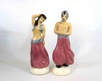 Vintage Mid Century Pair of Ceramic Arab Figures. Male and Female. Circa 1950's.