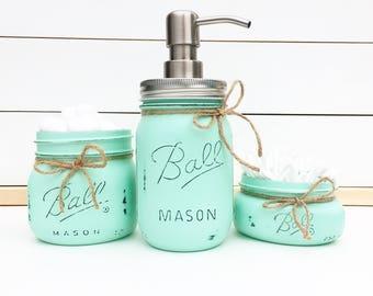 3pc. Mason Jar Bathroom Set, Rustic Bathroom, Farmhouse decor, Housewarming Gift, Bridal Shower Gift, Wedding Gift, Bathroom, Galentines Day