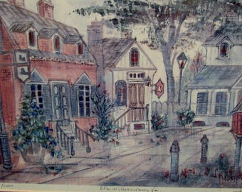 City Scene - Williamsburg, VA - Signed and Numbered in Pencil with Title - Print or Litho - Framed - Street Scene Tavern