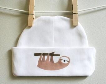 Sloth baby cap, sloth baby beanie, baby boy cap, baby girl cap, sloth baby gift