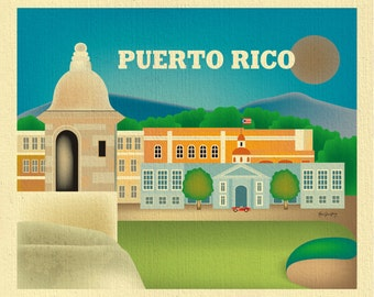 Puerto Rico art, Puerto Rico wall art, Puerto Rican art, Caribbean Print, San Juan map, Puerto Rico map, Caribbean poster - E8-O-PUERTO-R