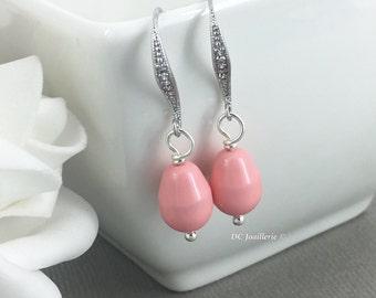 Pink Coral Earrings Bridesmaid Earrings Drop Earrings Dangle Earrings Bridesmaid Earrings Wedding Swarovski Earrings Gift Idea