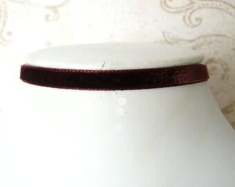 Tiny Wine Choker, Thin Burgundy Velvet Choker, Narrow Chocker, Skinny Vintage Style Velvet Ribbon Necklace, Lolita Jewelry
