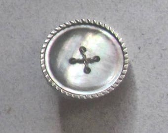 Metal and Pearl False Sew Through Button