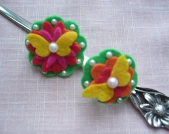 Flowers and butterflies made handmade felt brooch and ring set
