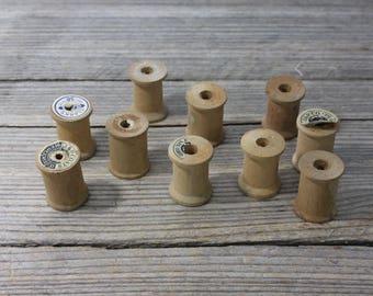 Set of 10 vintage wooden spools, vintage thread spools. Vintage thread, spools, notions, sewing, collage, repurposing