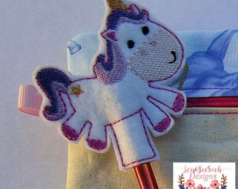 ITH Unicorn pencil topper  (4x4) machine embroidery Instant digital download