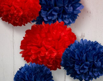 Tissue Paper Pom Poms - Set of 5 - Nautical decor//Boy's Baby Shower//Nursery//Navy Decor