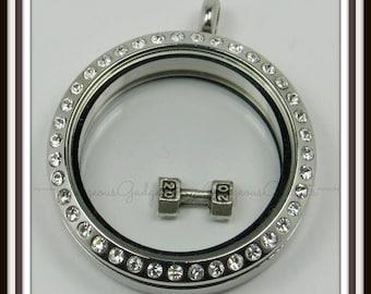 Dumbbell Floating Charm for Glass locket / Floating Locket / Memory Locket