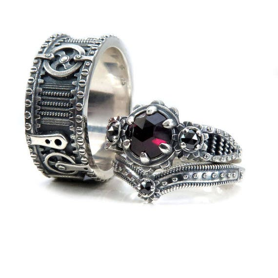 Steampunk Wedding Ring Set