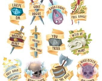 D&D, RPG and Fantasy Class  10cm Vinyl Stickers. 9 Designs: Rogue, Bard, Necromancer, Warlock, Warrior, Ranger, Paladin, Cleric, druid, D20