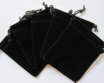 """100 Black Velvet Drawstring Gift Pouches 2.5""""x3.5"""""""