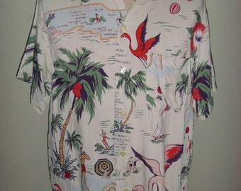 Sun Surf White Rayon Hawaiian Shirt , Pattern Design Cattleya Orchid ,Toyo Made in Japan , Size L , Excellent condition