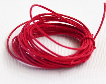 Waxed Cotton String, Cord, 1 mm Red, 3m length