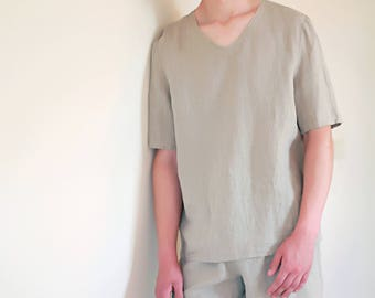 Linen Pajama Set  Mens/ Shorts and Top Shortsleeve/ Summer Flax Men Pajama Natural/ Pure Linen Pajama Set For Men/ Simple Nightwear For Men