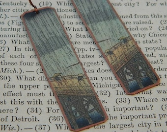 Art earrings Utagawa Hiroshige Japanese art  mixed media jewelry Art jewelry