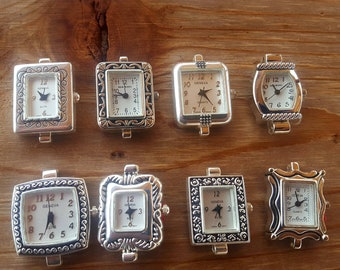 Silver Beading Watch Faces without rings, Square Beading Watch Face, Watch Jewelry, Watch Making, Watch Faces without jump rings