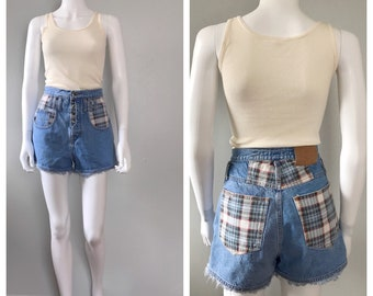 Plaid 90s Grunge Denim and Flannel shorts Cut Off Shorts Plaid Patched Shorts