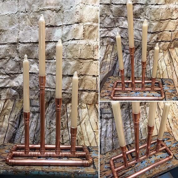 Copper Mantle Candle Holder