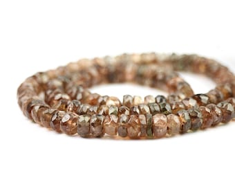 Andalusite Micro Faceted Rondelles 5 Brown Pink Sheen Semi Precious Gemstone