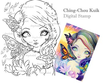 Rainbow In Eyes - Digital Stamp Instant Download / Art by Ching-Chou Kuik