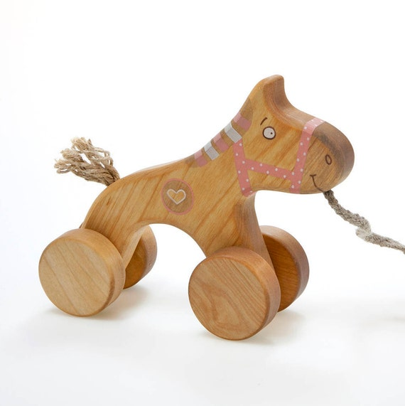 wooden horse toy pull toys for 1 year old pink toy for. Black Bedroom Furniture Sets. Home Design Ideas