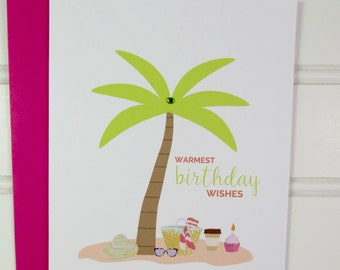 Beach Birthday Card, Summer Birthday, Tropical Card for Mom, Mother, Wife, Daughter, Sister, Niece, Aunt, Cousin, Friend, Godmother, BFF