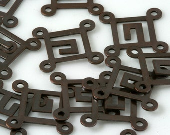 150 Pcs Antique copper tone Brass 14 mm Square tag four 4 hole connector Charms ,Findings 446AC-51