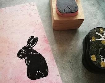 Rabbit rubber stamp, journal stamp,