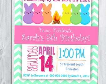 Peep S'more Themed Birthday Invitation