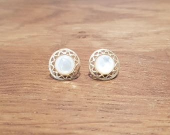 White mother of Pearl Stud Earrings